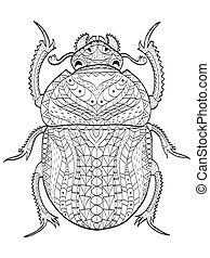 Egyptian Scarab beetle coloring vector for adults - Egyptian...