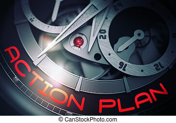 Action Plan on the Automatic Men Wrist Watch Mechanism. 3D....