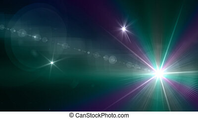 green color of camera flash flare - Beautiful color light...