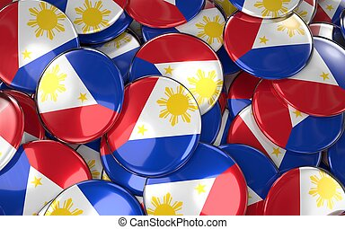Philippines Badges Background - Pile of Philippine Flag...