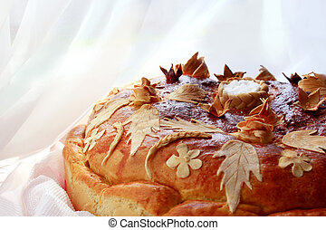 round loaf with floral patern - beautiful round loaf with...