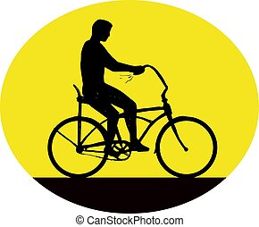 Man Riding Easy Rider Bicycle Silhouette Oval Retro