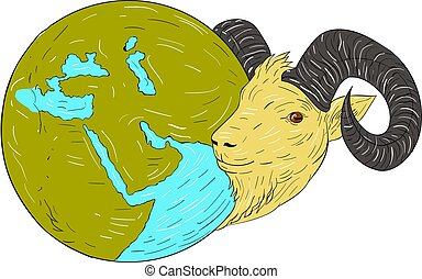 Ram Head Middle East Globe Drawing - Drawing sketch style...