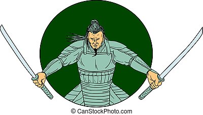 Samurai Warrior Wielding Two Swords Oval Drawing