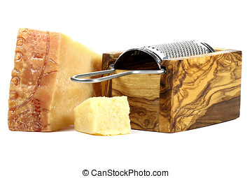 Italian hard cheese with grater isolated on white background