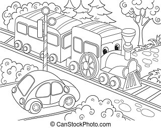 Cartoon train train and car coloring book for children...