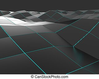 Dark abstract low poly wave background