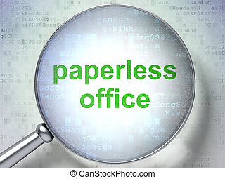 Business concept: Paperless Office with optical glass