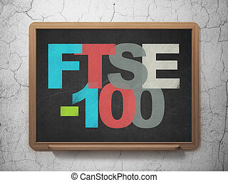 Stock market indexes concept: FTSE-100 on School board...