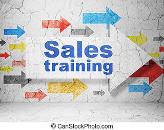 Marketing concept: arrow with Sales Training on grunge wall background