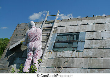 Asbestos removal worker. Dangerous waste disposal -...