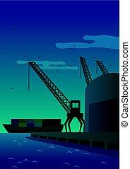 Port - Illustration of port at night.