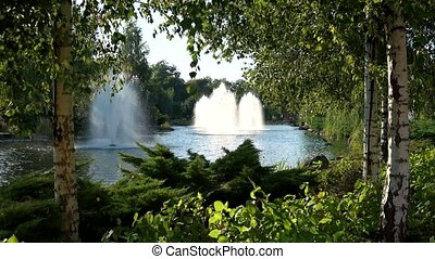 Pond with fountains, summer. Green trees near water.