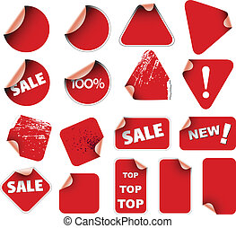 Set of labels and stickers - Set of red labels badges and...
