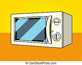 Microwave oven pop art style vector illustration. Comic book...