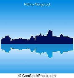 Vector skyline of Nizhnij Novgorod. Russia - Detailed Vector...