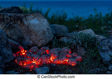 Flaming Hot Charcoal Briquettes, Food Background Or Texture...