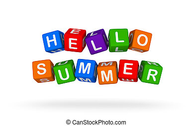 Hello Summer. Colorful Toy Block Flying on White Background.