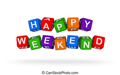 Happy Weekend. Colorful Toy Block Flying on White Background.