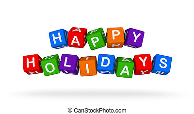 Happy Holidays. Colorful Toy Block Flying on White Background.