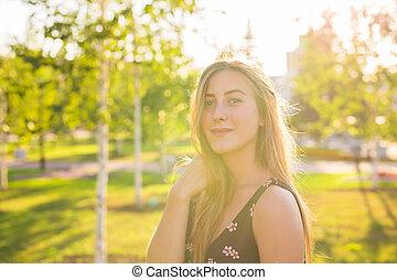 Girl enjoying good time in the park.