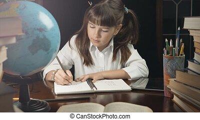 Smart Schoolgirl Studying Process - Eight years school girl...