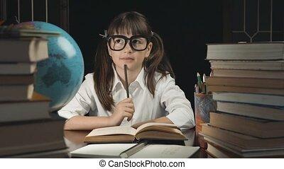 Smart Schoolgirl Studying Process - Eight years thoughtful...