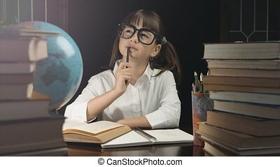 Smart Schoolgirl Studying Process - Eight years thoughtful...