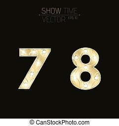 Gold figures 7 and 8 with a curly pattern. Beautiful, flashing light bulbs. Realistic vector illustration on a dark background for shows and presentations