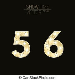 Gold figures 5 and 6 with a curly pattern. Beautiful, flashing light bulbs. Realistic vector illustration on a dark background for shows and presentations