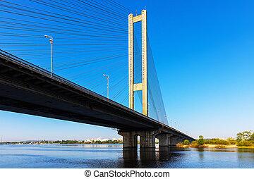 Cable bridge over Dnieper river in Kyiv, Ukraine - Scenic...