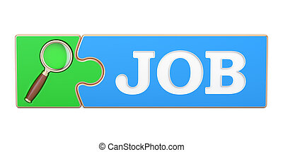 Job Search concept, from puzzle with magnifier. 3D rendering