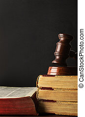 Old Books Stacked and Topped with Wooden Gavel - Chalkboard...