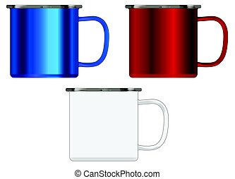 Red White And Blue Tin Cup - Typical patriotic red white and...