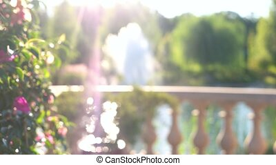 Blurred person and nature. Abstract outdoor background.