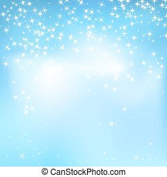 Blue sky abstract background with soft clouds and stars. Magical New Year, Christmas event style background