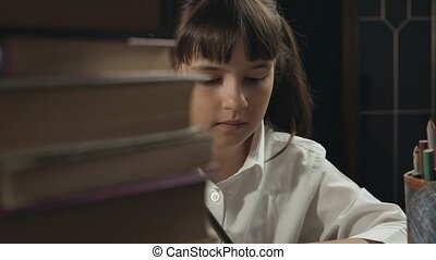 Smart Schoolgirl Studying Process - Eight years school girl...