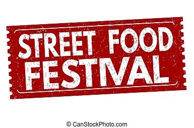 Food street festival sign or stamp