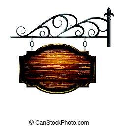 vector wooden signboard