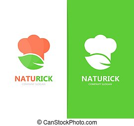 Vector of chef and leaf logo combination. Kitchen and eco...