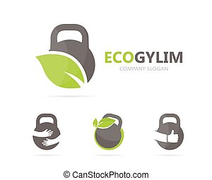 Vector of sport and leaf logo combination. Gym and eco...