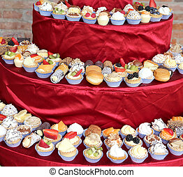 pastries with custard and fruit during the wedding lunch at the