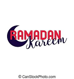 Ramadan kareem lettering in half moon, red and black color,...