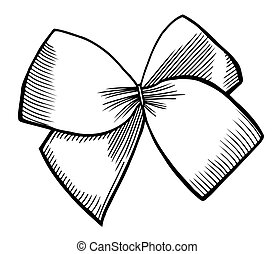Bow with ribbon. - A bow ribbon gift in a vintage woodcut...