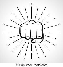 Fist with sunbursts, hand silhouette. vector - Fist with...
