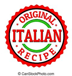 Original italian recipe label or sticker on white...
