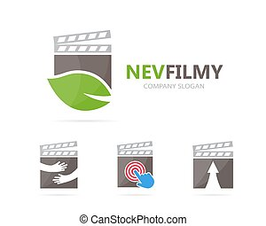 Vector of clapperboard and leaf logo combination. Cinema and...