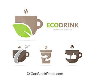 Vector of coffee and leaf logo combination. Drink and eco...