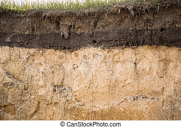 The layers of the earth in a clay pit