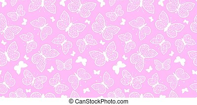 Vector Pastel Pink Butterflies Repeat Seamless Pattern...